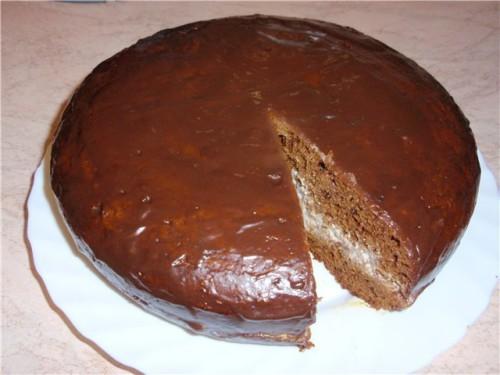 Негр в пене шоколадный торт на кефире в мультиварке